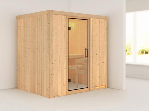 Sauna Systemsauna Bodin Klarglas Ganzglastür
