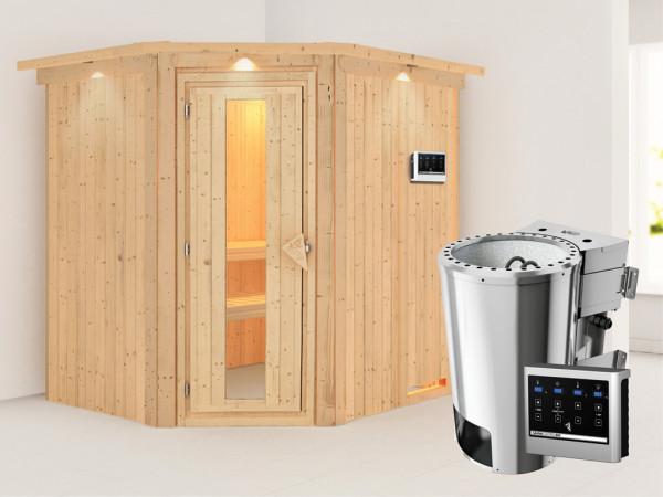 Sauna Systemsauna Lilja mit Dachkranz, Energiespartür, Plug & Play Bio-Ofen mit externer Steuerung