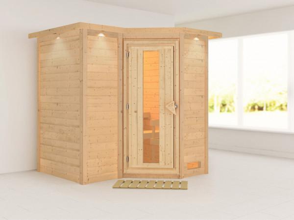 Massivholzsauna Sahib 1 mit Dachkranz, Holztür mit Isolierglas