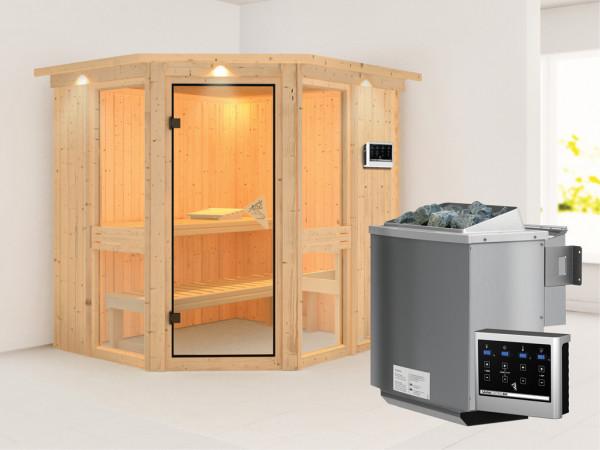 Sauna Systemsauna Amelia 1 mit Dachkranz, inkl. 9 kW Bio-Kombiofen ext. Steuerung