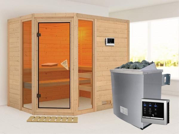 """Sauna Massivholzsauna """"Sinai 3"""" inkl. 9 kW Saunaofen ext. Steuerung"""