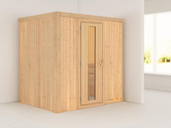 Systemsauna Bodin Holztür mit Isolierglas