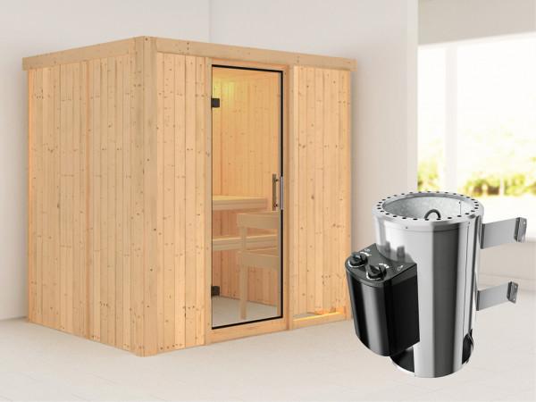 Sauna Systemsauna Fanja Klarglas Ganzglastür + Plug & Play Saunaofen mit Steuerung