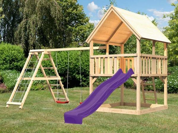 Spielturm Set Luis naturbelassen inkl. Rutsche violett, Schaukel und Klettergerüst