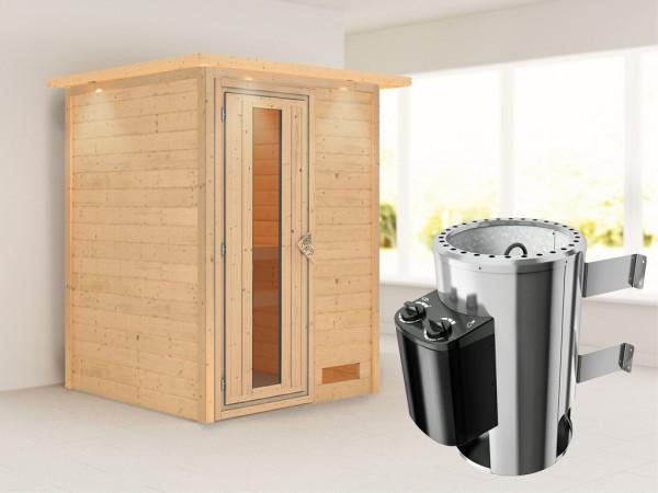 Sauna Massivholzsauna Nadja mit Dachkranz, Energiespartür + Plug & Play Ofen mit Steuerung
