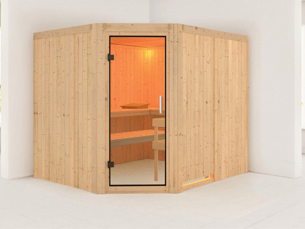 Sauna Systemsauna Malin Klarglas Ganzglastür