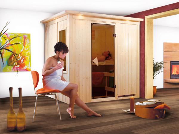 Sauna Systemsauna Fanja mit Dachkranz