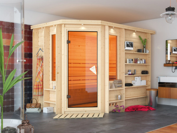 Sauna Massivholzsauna Riona inkl. 9 kW Bio-Kombiofen ext. Steuerung