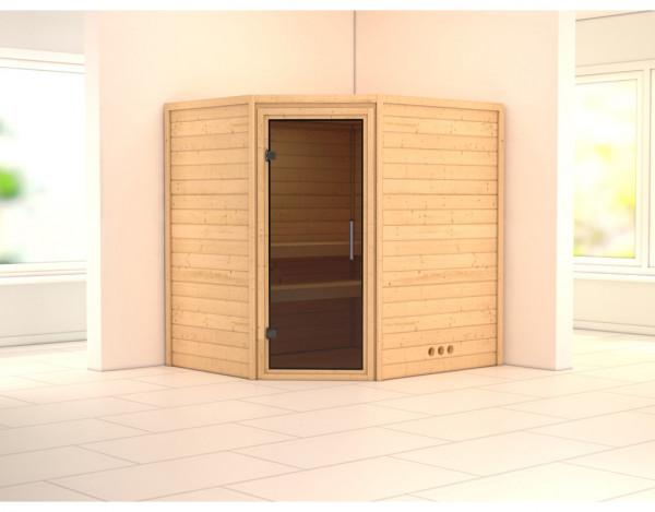 Sauna Massivholzsauna SPARSET PLUS Borgholm inkl. Ofen 9 kW, graphit Ganzglastür