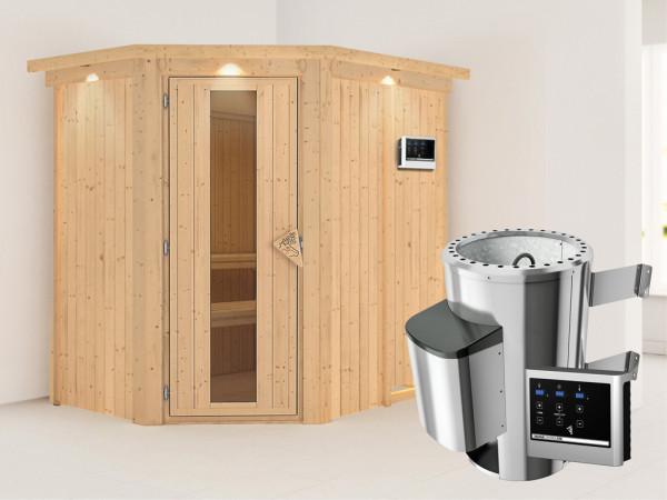 Sauna Systemsauna Saja mit Dachkranz, Energiespartür + Plug & Play Saunaofen mit ext.Strg