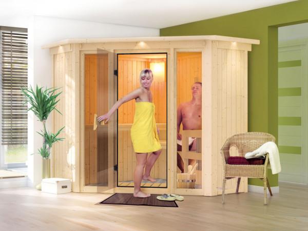 Sauna Systemsauna Flora 1 mit Dachkranz