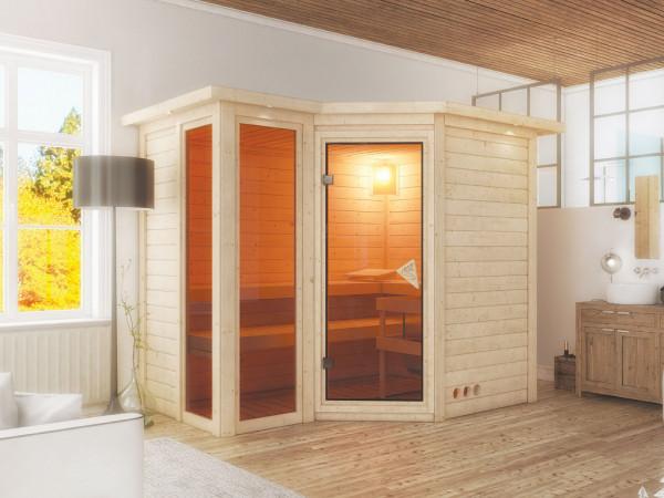 Sauna Massivholzsauna Amara mit Dachkranz