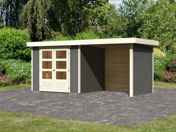 Gartenhaus SET Askola 3 19 mm terragrau, inkl. 2,4 m Anbaudach + Seiten- und Rückwand