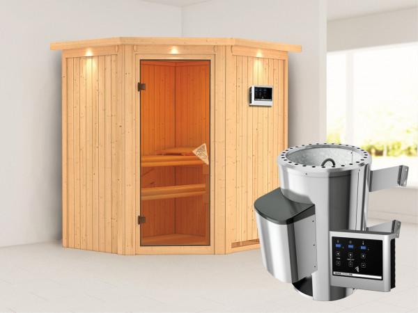 Sauna Systemsauna Tonja mit Dachkranz, inkl. Plug & Play Saunaofen externe Steuerung