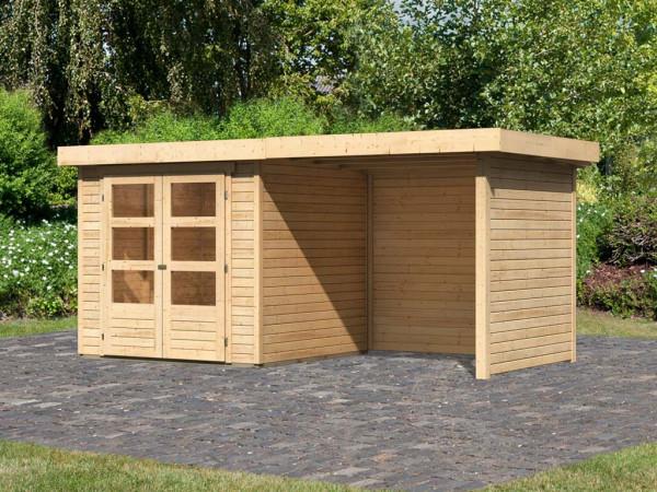 Gartenhaus SET Askola 2 19 mm naturbelassen, inkl. 2,4 m Anbaudach + Seiten- und Rückwand