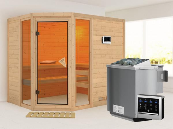 "Sauna Massivholzsauna ""Sinai 3"" inkl. 9 kW Bio-Kombiofen ext. Steuerung"