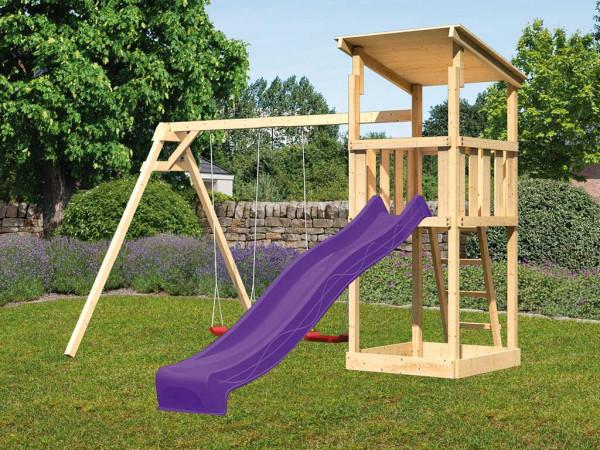 Spielturm SET Anna naturbelassen inkl. Rutsche violett + Doppelschaukel