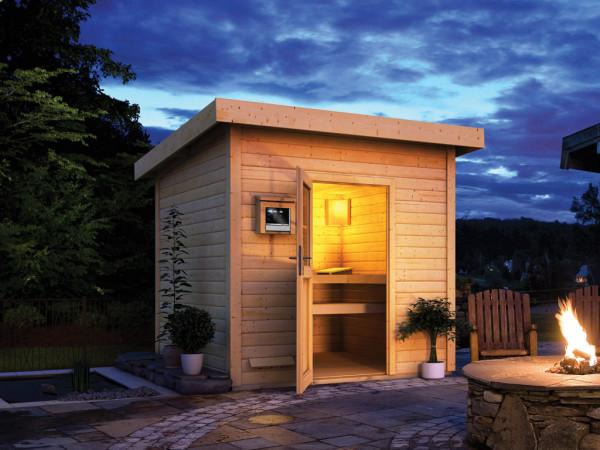 Saunahaus Kristina mit Holztür, inkl. 9 kW Saunaofen mit externer Steuerung