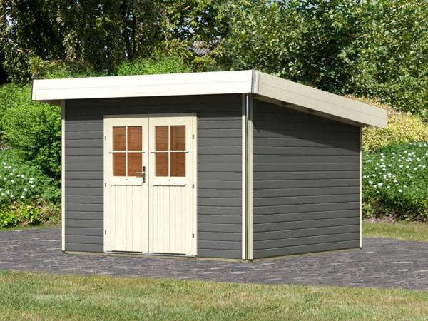 Gartenhaus Moosburg 3 PREMIUM 40 mm terragrau