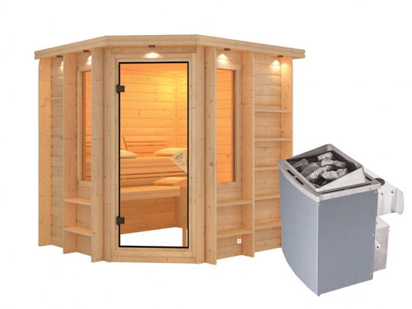 Sauna Massivholzsauna Cortona mit Dachkranz, inkl. 9 kW Saunaofen integr. Steuerung