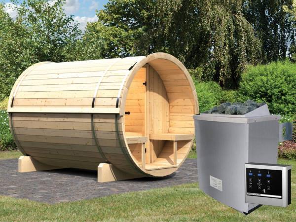 Saunafass Fass-Sauna 2 inkl. 9 kW Saunaofen ext. Steuerung