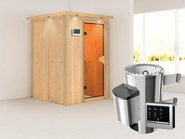 Sauna Systemsauna Lenja mit Dachkranz, inkl. Plug & Play Saunaofen externe Steuerung