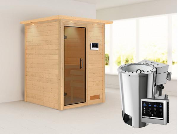 Sauna Massivholzsauna Nadja mit Dachkranz, graphit Ganzglastür + Plug & Play Bio-Ofen mit ext.Strg