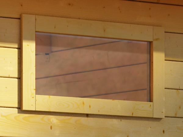 Fenster feststehend quer elfenbeinweiß für 38 mm Gartenhäuser