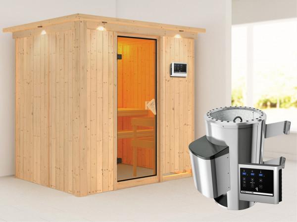Sauna Systemsauna Fanja mit Dachkranz, inkl. Plug & Play Saunaofen externe Steuerung
