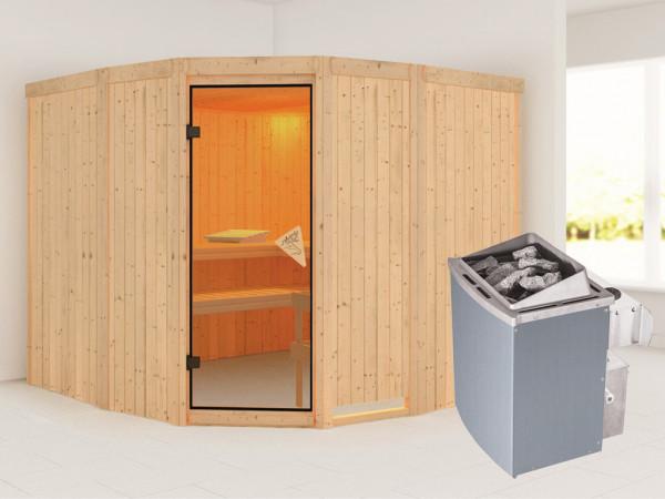 Sauna Systemsauna Simara 3 inkl. 9 kW Saunaofen integr. Steuerung