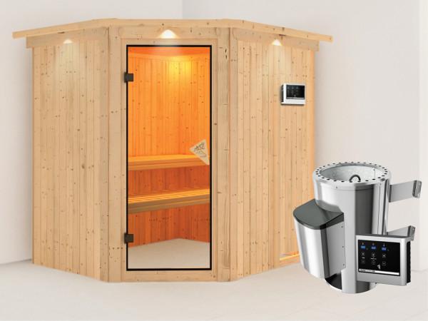 Sauna Systemsauna Lilja mit Dachkranz, inkl. Plug & Play Saunaofen externe Steuerung
