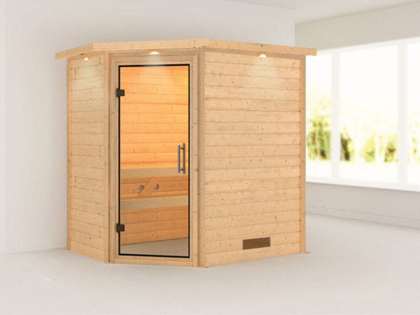 Sauna Massivholzsauna Cilja mit Dachkranz, Klarglas Ganzglastür