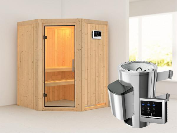 Sauna Systemsauna Nanja Klarglas Ganzglastür + Plug & Play Saunaofen mit externer Steuerung