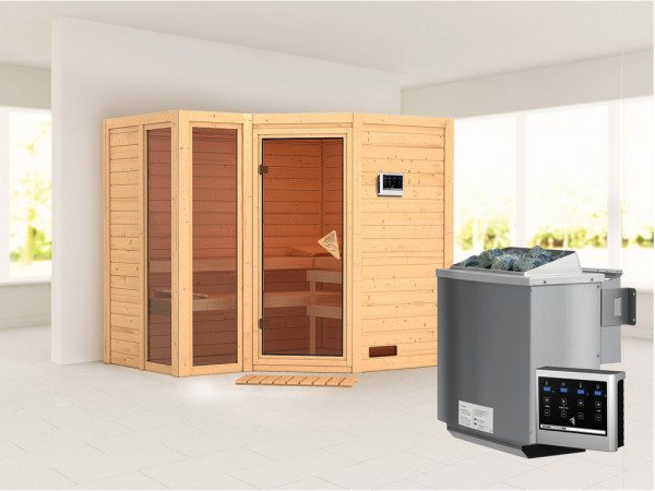 """Sauna Massivholzsauna """"Amara"""" inkl. 9 kW Bio-Kombiofen ext. Steuerung"""