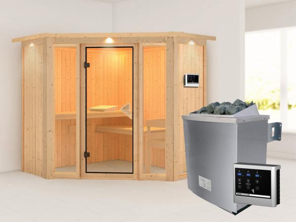 Sauna Systemsauna Flora 1 mit Dachkranz, inkl. 9 kW Saunaofen ext. Steuerung