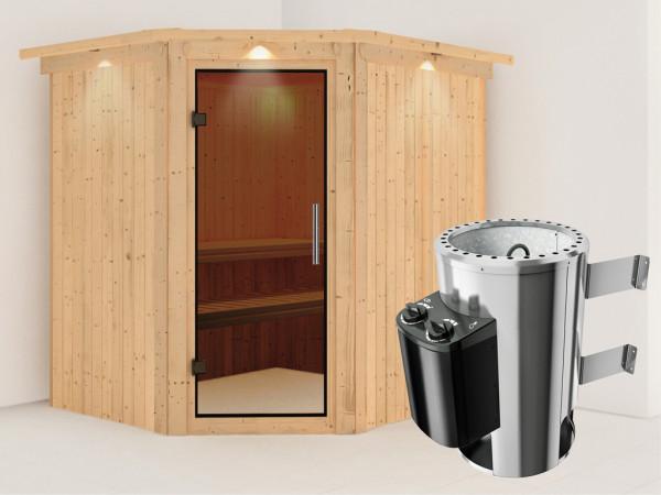 Sauna Systemsauna Lilja mit Dachkranz, graphit Ganzglastür + Plug & Play Saunaofen mit Steuerung