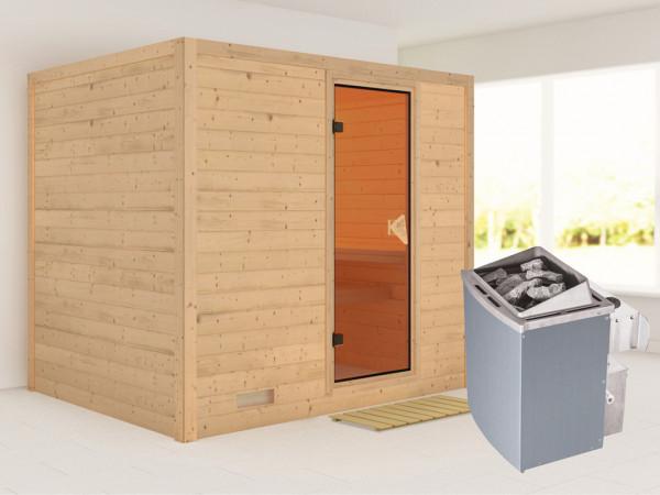 Massivholzsauna Sonara bronzierte Ganzglastür, inkl. 9 kW Ofen integr. Steuerung