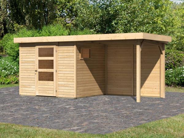 Gartenhaus SET Oburg 3 19 mm naturbelassen, inkl. 2,4 m Anbaudach + Rückwand