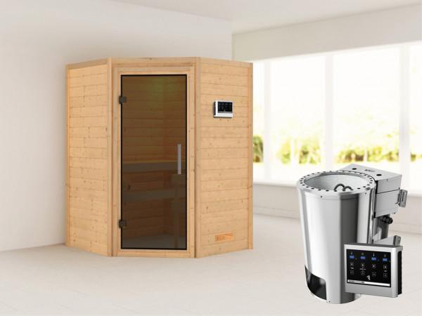 Sauna Massivholzsauna Alicja graphit Ganzglastür + Plug & Play Bio-Ofen mit externer Steuerung