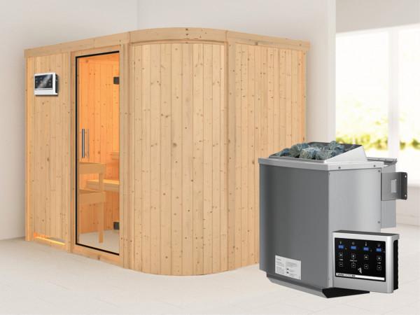 Sauna Systemsauna Titania 4 Klarglas Ganzglastür + 9 kW Bio-Kombiofen mit ext.Strg