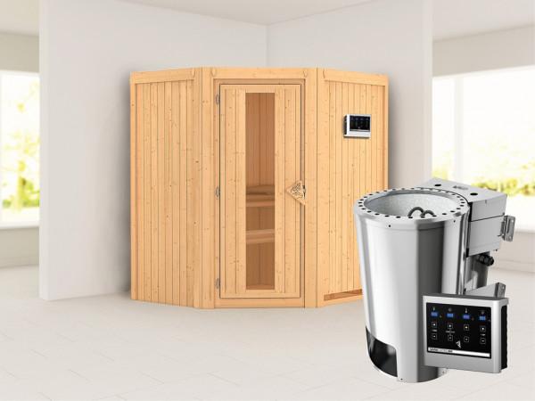 Sauna Systemsauna Tonja Energiespartür + Plug & Play Bio-Ofen mit externer Steuerung