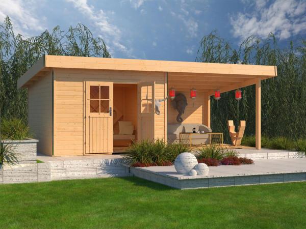 Gartenhaus SET Moosburg 3 PREMIUM 40 mm naturbelassen, inkl. 3,3 m Anbaudach + Rückwand