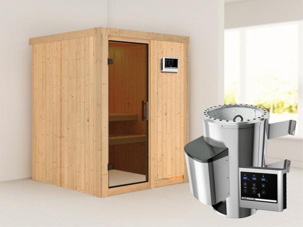 Sauna Systemsauna Minja graphit Ganzglastür + Plug & Play Saunaofen mit externer Steuerung