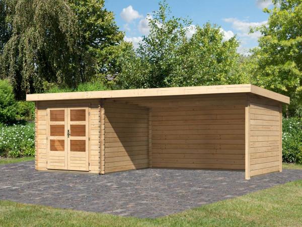 Gartenhaus Blockbohlenhaus SET Bastrup 4 28 mm naturbelassen, inkl. 4 m Anbaudach + Seiten-/Rückwand