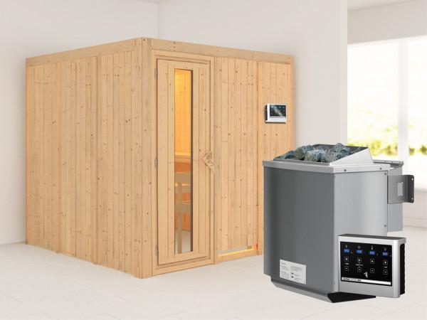 Systemsauna Rodin Holztür mit Isolierglas, inkl. 9 kW Bio-Kombiofen ext. Steuerung