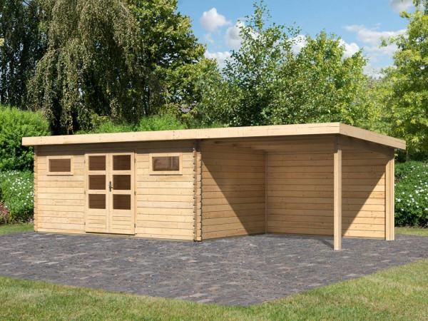Gartenhaus Blockbohlenhaus SET Bastrup 10 28 mm naturbelassen, inkl. 3 m Anbaudach + Rückwand