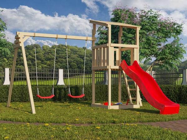 Spielturm SET Anna naturbelassen inkl. Rutsche rot + Doppelschaukel