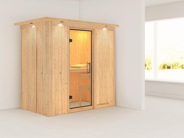 Sauna Systemsauna Variado mit Dachkranz, Klarglas Ganzglastür