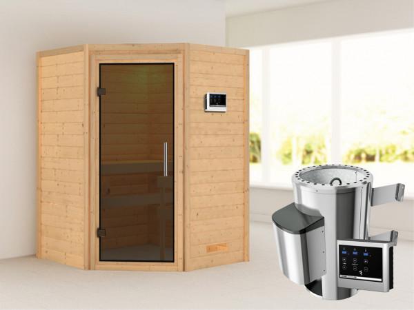 Sauna Massivholzsauna Alicja graphit Ganzglastür + Plug & Play Saunaofen mit externer Steuerung