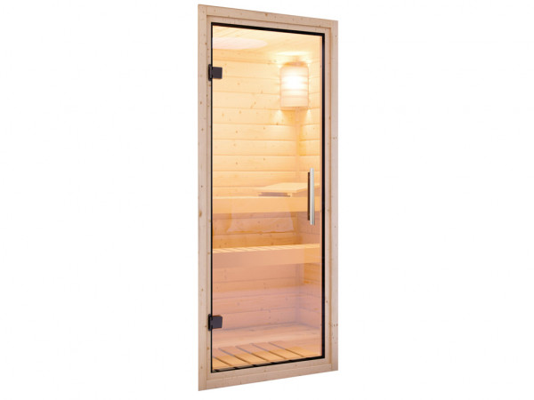 Türpaket 38 + 40 mm Sauna Klarglastür Klarglas